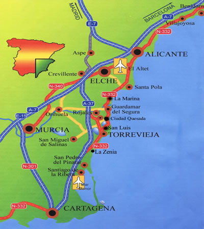 Map Of Spain Showing Airports.Maps San Luis Sun Holidays Spain